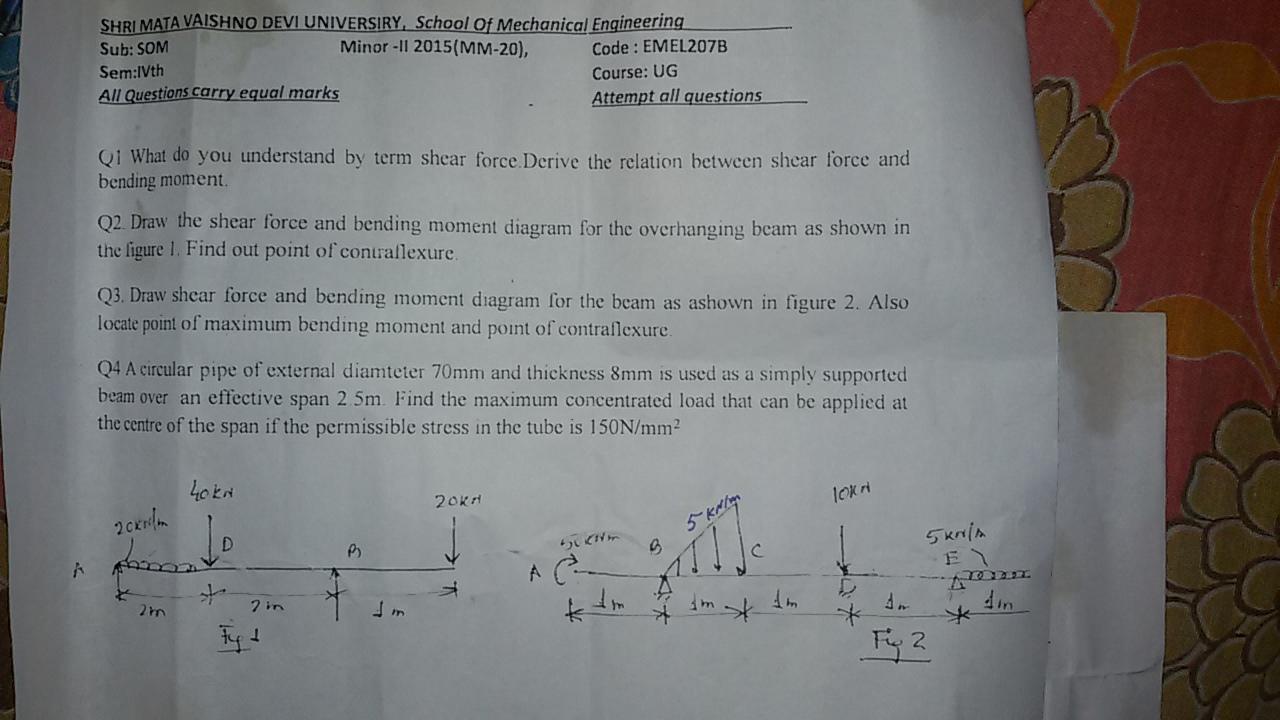 Exm Baba Draw Bending Moment Diagram Mechanical Engineering